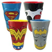 DC Comics Female Heroes Molded Ceramic Pint Glass (4-Pack)