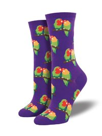 Womens - Purple Couple Of Lovebirds Crew Socks