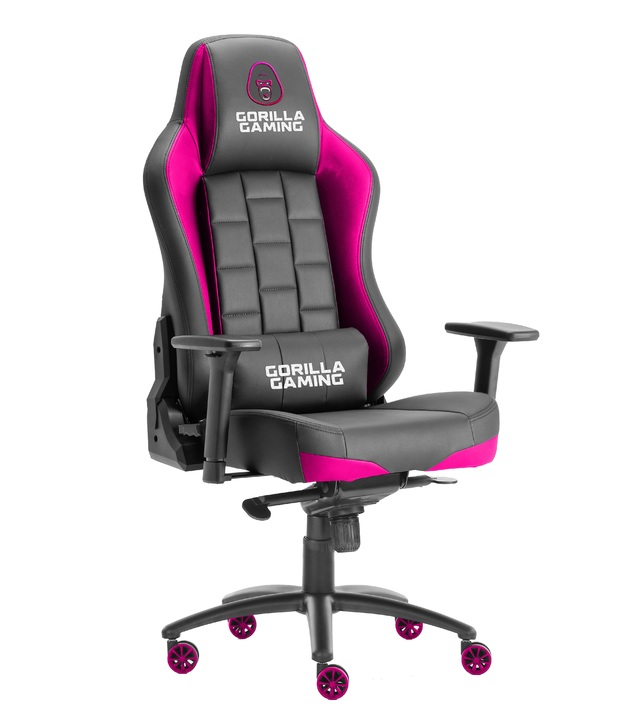 Gorilla Gaming Alpha Prime Chair - Black & Pink for