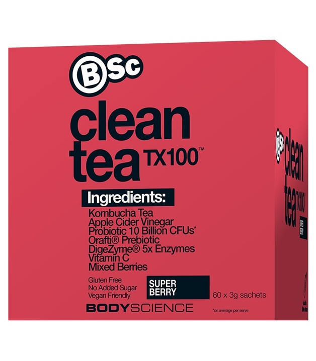 BSC Clean Tea TX100 Super Berry w Kombucha + ACV (60x3g)