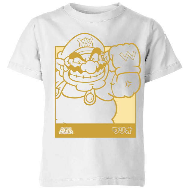 Nintendo Super Mario Wario Kanji Line Art Kids' T-Shirt - White - 5-6 Years