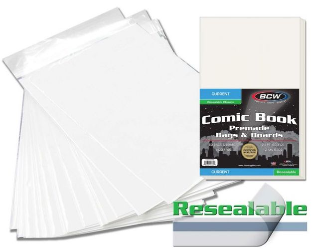 """BCW: Resealable Comic Bags & Boards Set - Premade Current (6.87"""" x 10.5"""")"""