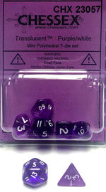 Chessex: Polyhedral Transparent Mini Dice Set - Purple/White