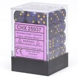 Chessex Signature 12mm D6 Dice Block: Golden Cobalt Speckled