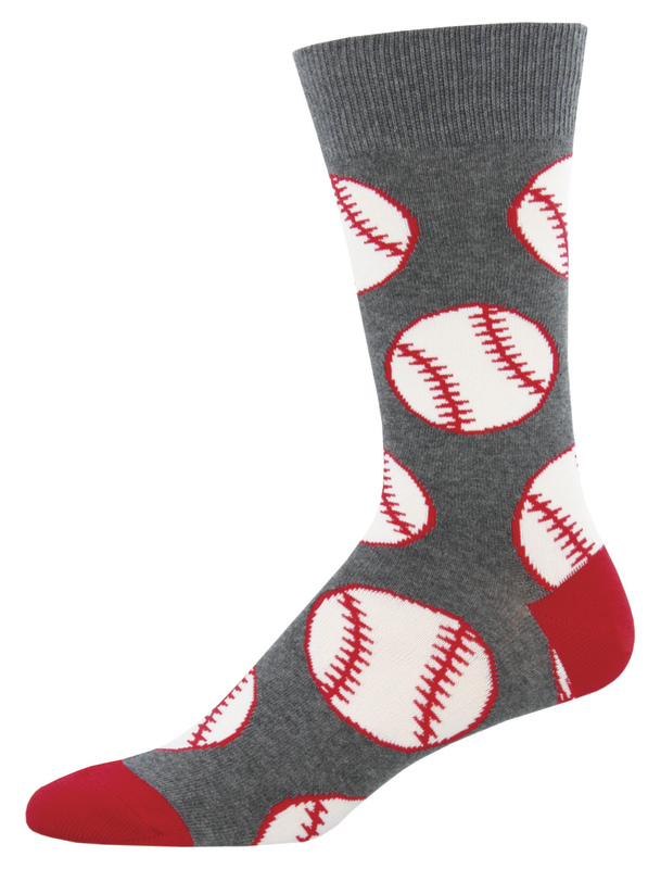 Socksmith: Men's Out To The Ball Game Crew Socks - Charcoal