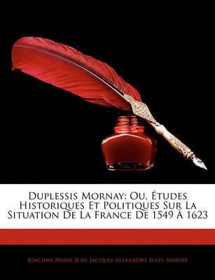 Duplessis Mornay: Ou, Tudes Historiques Et Politiques Sur La Situation de La France de 1549 1623