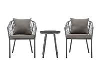 Shangri-La Napier Rope Detailed 3 Piece Outdoor Furniture Table & Chair Set