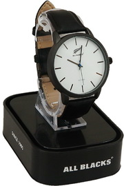 All Blacks Watch - White Face/Black Leather Strap