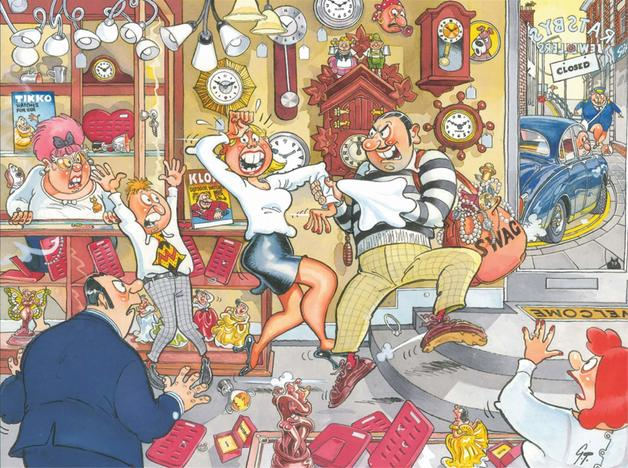 Wasgij: 500 Piece XL Puzzle - Retro Wasgij Mystery #2 (Stop the Clock)