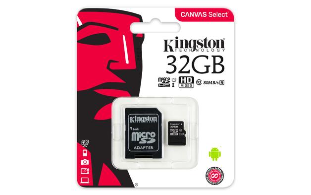 32GB Kingston Canvas Select MicroSDHC Card + SD Adaptor - Class 10 UHS-I