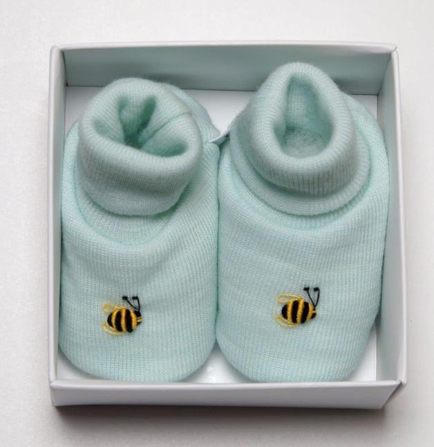 Dimples: Gift Boxed - Merino Pastel Marl Booties - Mint (3-6 Months)