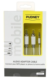 Pudney: 3.5mm Stereo Plug To 2 RCA Plugs 3 Metre - White
