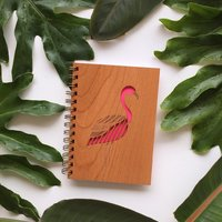 Cardtorial Wooden Journal - Flamingo image