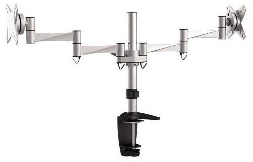 BRATECK: 13'-27' Dual monitor deskmount. Max load: 8kg per arm.Supports VESA 75x75 & 100x100.Extend, tilt and swivel.