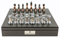 "Dal Rossi: Staunton Metal/Marble - 16"" Chess Set (Carbon Fibre)"