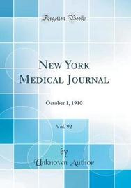 New York Medical Journal, Vol. 92 by Unknown Author image