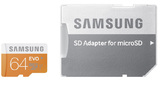 64GB Samsung Evo - MicroSDXC Card with SD Adapter (Class 10 UHS-I)