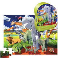 Crocodile Creek: 36-Piece Shaped Box Puzzle - Wild Safari
