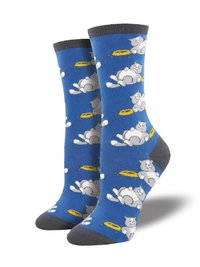 Womens - Deep Periwinkle Time For A Cat Nap Crew Socks