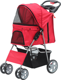 Pawise: Pet Stroller with 4 Wheels - Red/68X46X100 cm