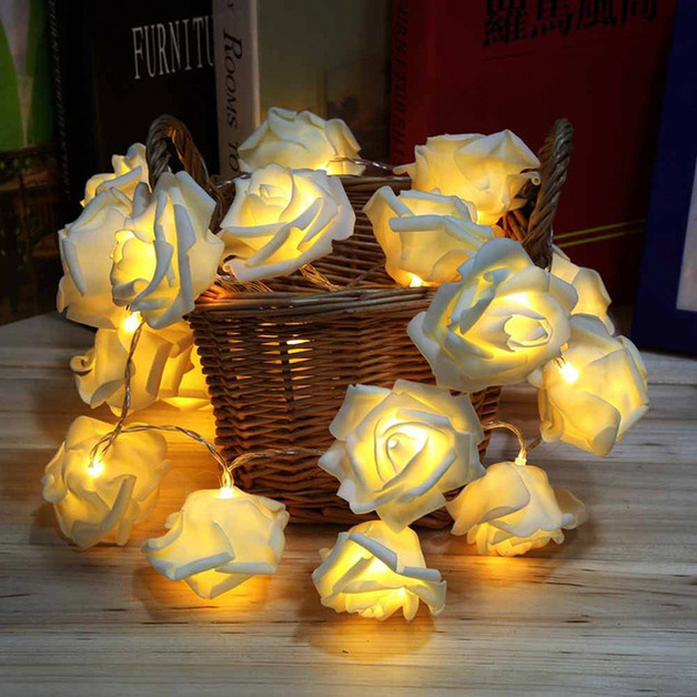 Soft Glow White Rose String Lights (20 LED)