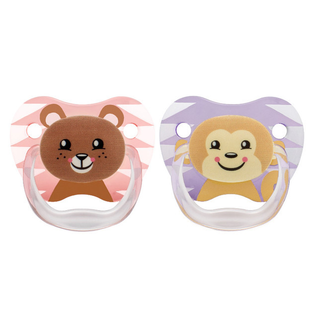 Dr Brown's PreVent Printed Shield Pacifier Pink Stage 2 - 6-12mths (2 Pack)