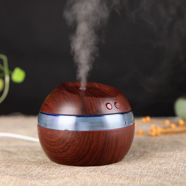 Mini Ultrasonic Portable USB Humidifier (Dark Wood)