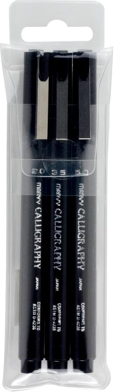 Marvy: Calligraphy Pen - Black (Set 3)