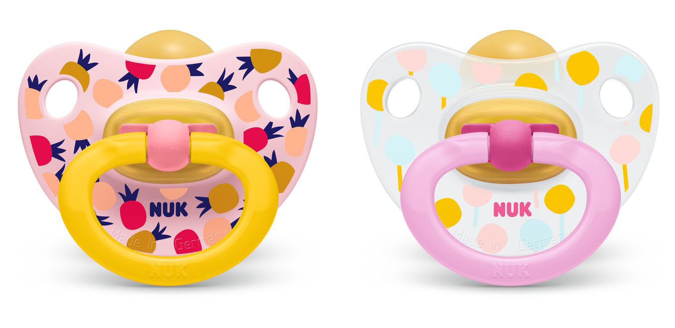 NUK: Classic Happy Kids Latex Soothers - 18+ Months (2 Pack) - Pink + Yellow image