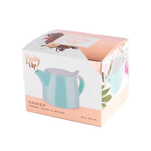 Pinky Up: Harper - Ceramic Teapot & Infuser (Blue) image