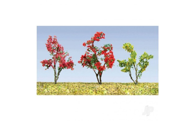 JTT: HO gauge Flower Trees (Red, Pink, Purple & Yellow) 19mm-25mm (30 Pack)