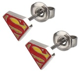 Superman Logo Red and Yellow Stud Earrings