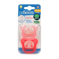 Dr Brown's PreVent Glow In The Dark Pacifier Pink Stage 2 - 6-12mnths (2 Pack)