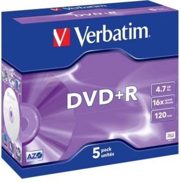 Verbatim DVD+R 4.7GB Jewel Case 16x (5 Pack)