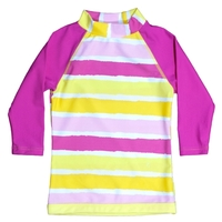Sun Blossom Long Sleeve Striped Swim Shirt (Size 4)