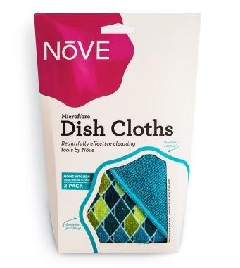 Nove Patterned Kitchen Cloth - Blue (2 Pack)