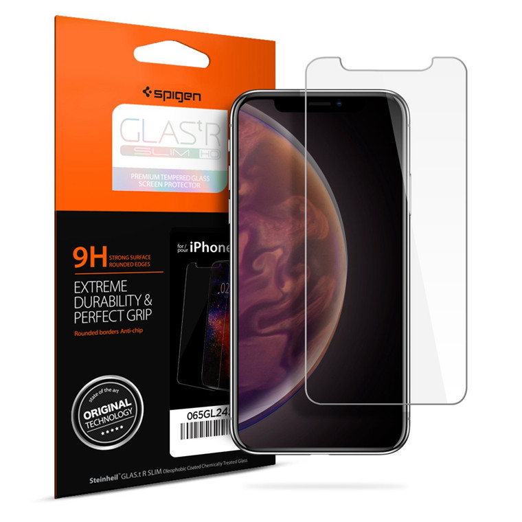 Spigen: Premium Tempered Glass Screen Protector for iPhone XS image