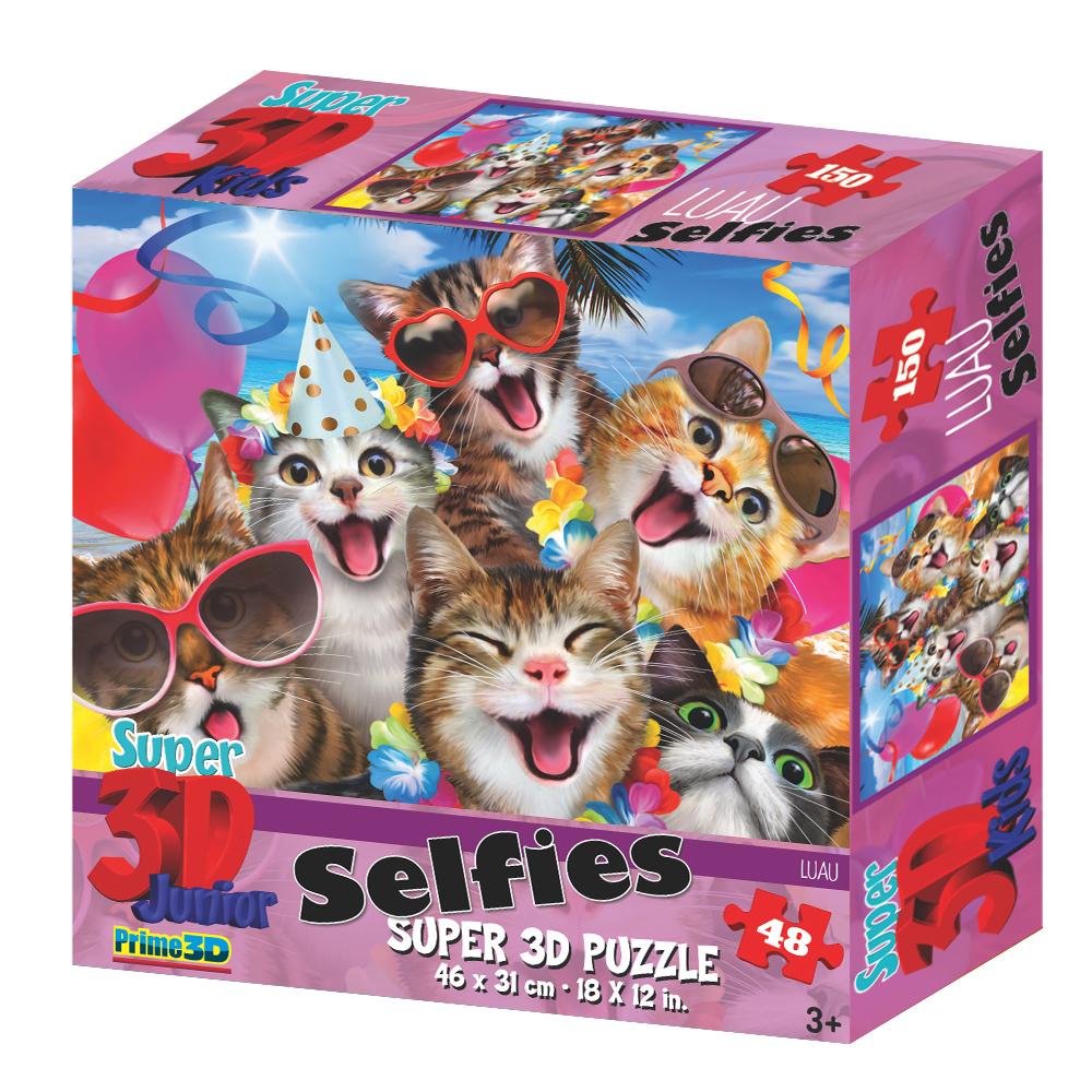 Super 3D: 48-Piece Jigsaw Puzzle - Cats Luau Selfie image