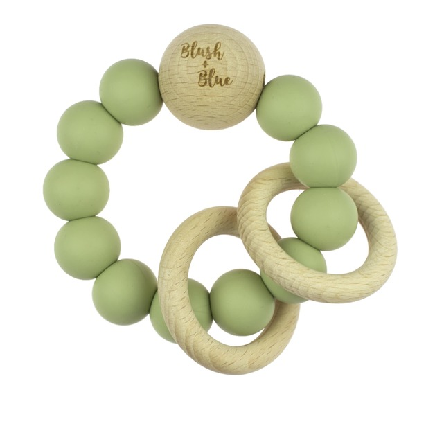 Blush + Blue Silicone Rattle Teether - Olive