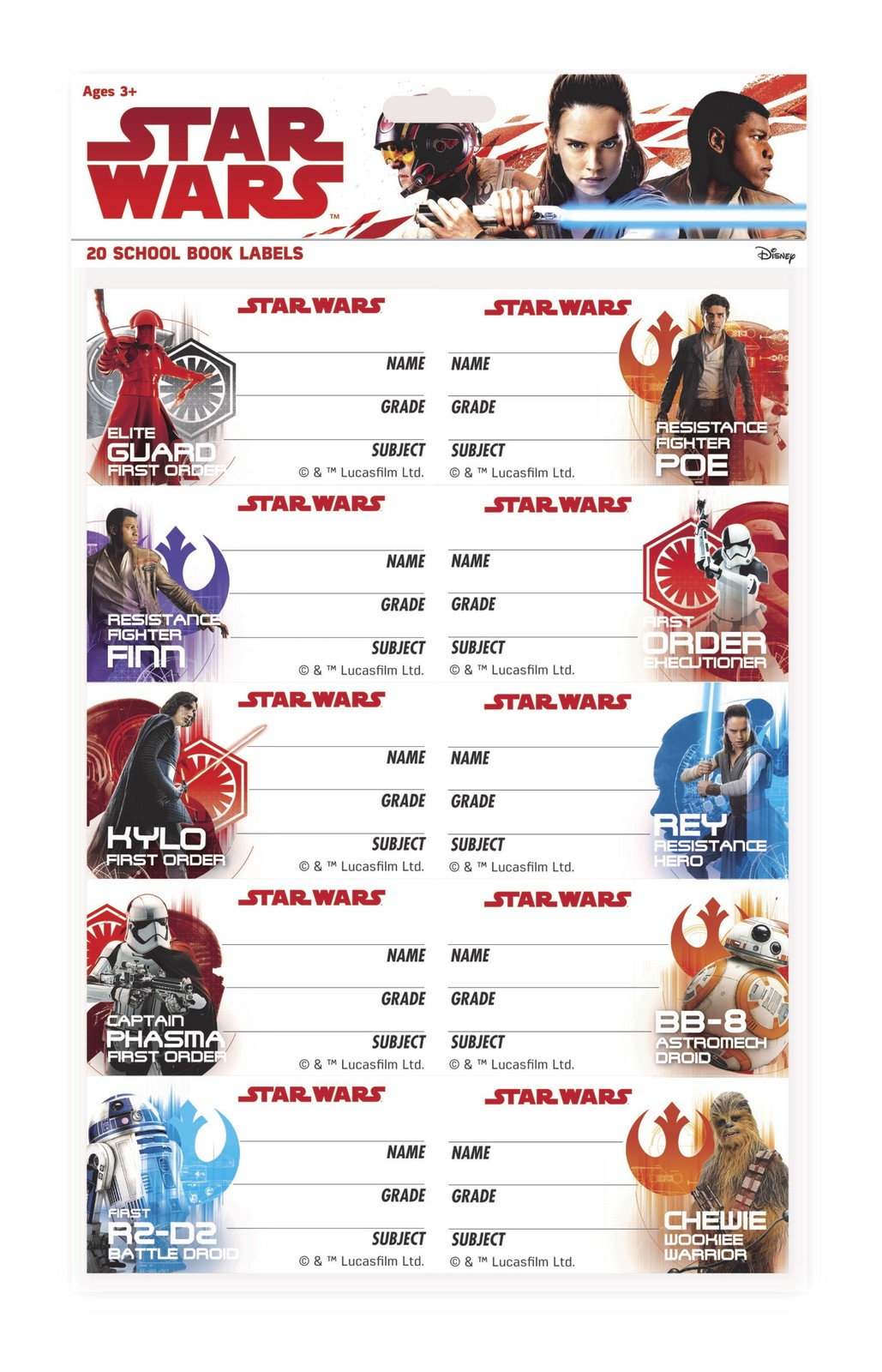 Star Wars: The Last Jedi Book Labels image