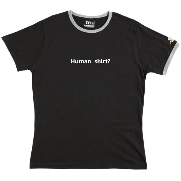 Human Shirt - Ringer Tee (Black) Small for