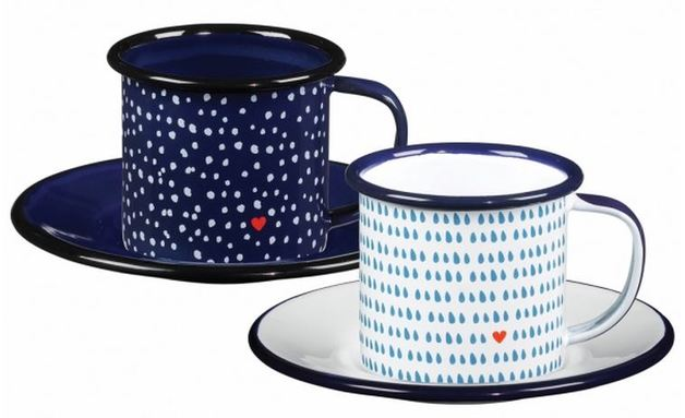 Folklore: Enamel Espresso Cup And Saucer (Set Of 2) | at ...
