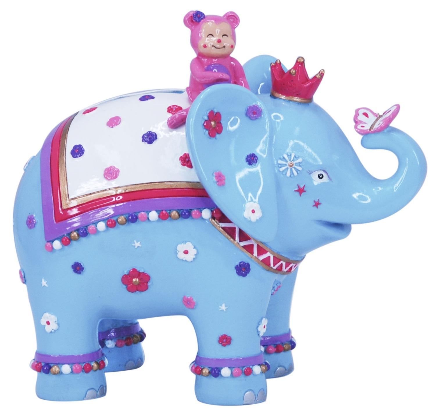Pink Poppy: Carnival Elephant Money Box - Blue image