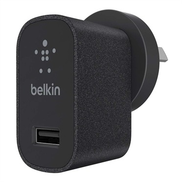 Belkin - 2.1A USB Metallic Wall Charger (Black)