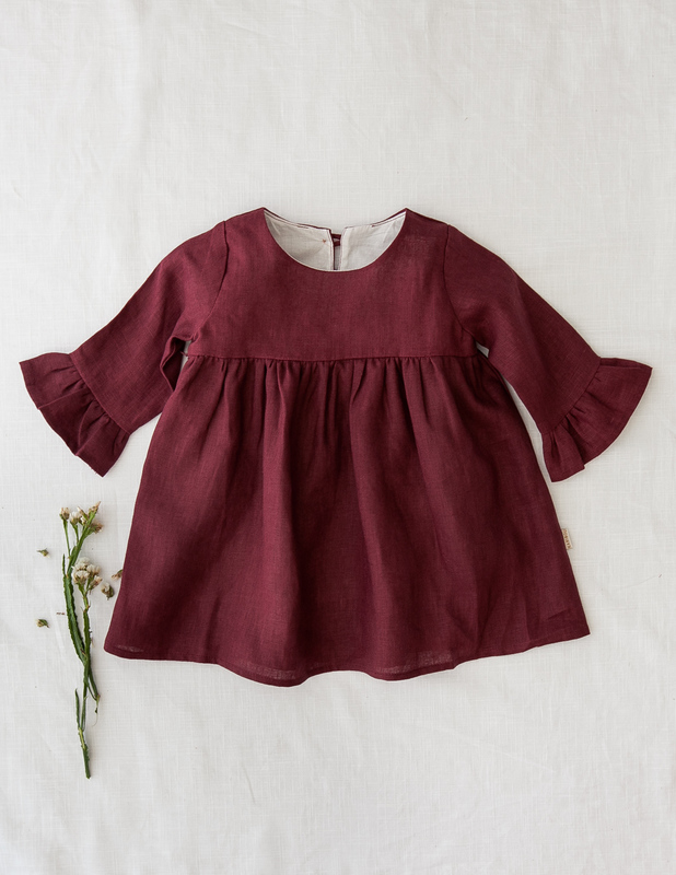 Karibou Kids: Indi Bell Sleeve Linen Dress - Plum 3YRS