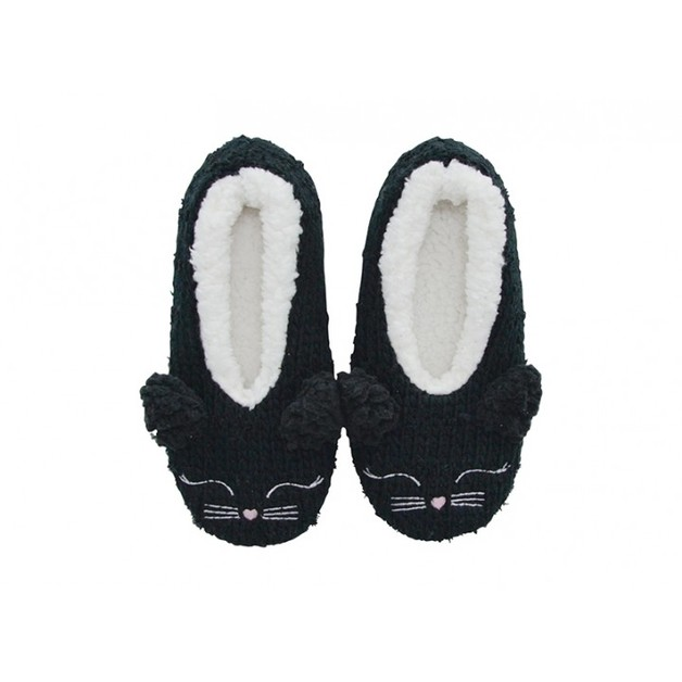 Annabel Trends Little Faces Slippers - Black Cat (Small/Medium)