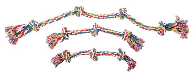 "Pawise: 13"" Rope Bone - with 3 Knots/Multi Color"
