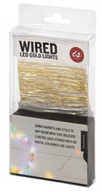 Gold Wire LED Lights - Pastel Glow (5M)
