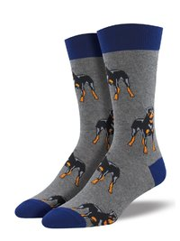 Mens - Heather Gray Rottweiler Crew Socks