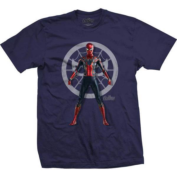 Avengers Infinity War Spidey Character Mens Navy TS: Small